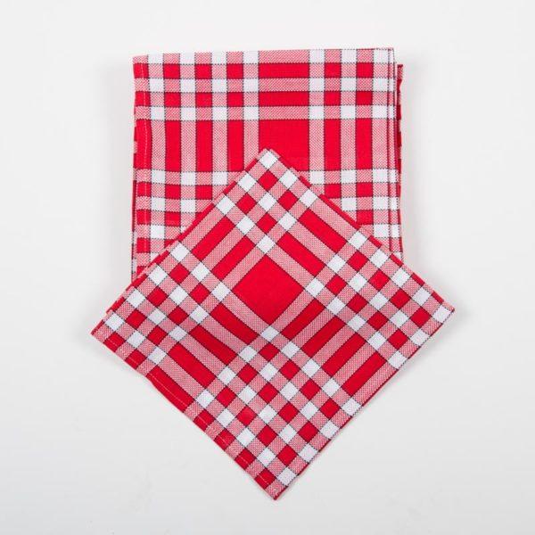 Lot de 6 serviettes normandes rouges