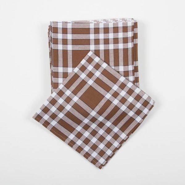 Lot de 6 serviettes normandes marrons