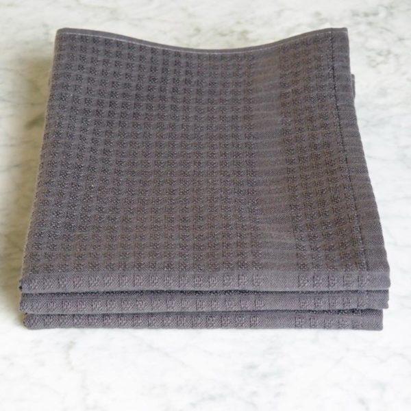Torchon Gaufrex® uni couleur acier