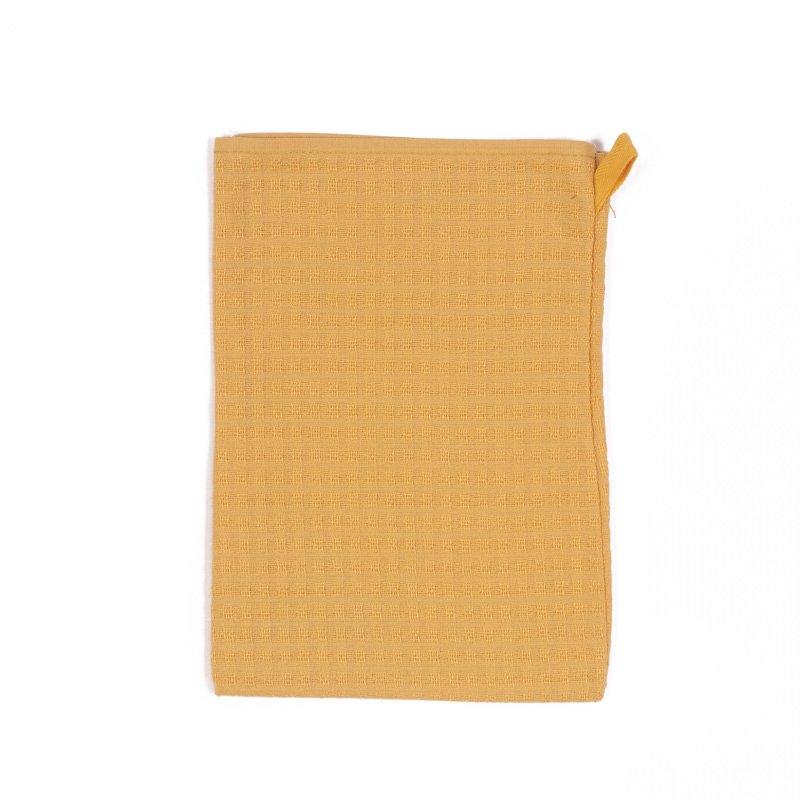 Lot de 3 gants de toilette Gaufrex® unis - Couleur curry